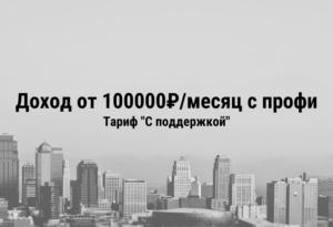 "Доход от 100000₽/месяц с профи. Тариф ""С поддержкой""."